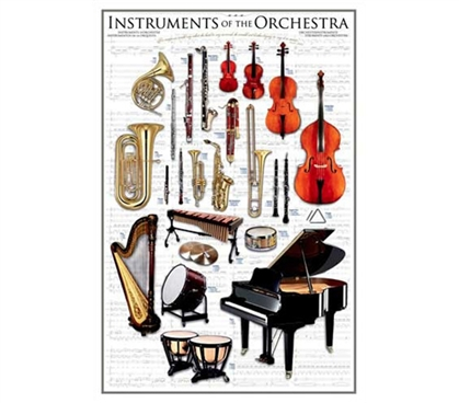 Orchestra Band Instruments - Music Poster for College Walls