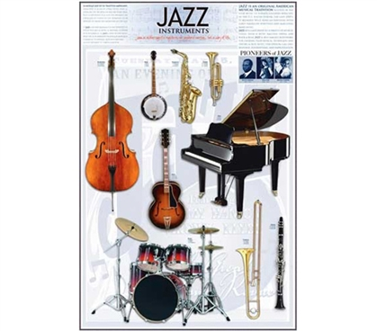 Collage of Musical Jazz Instruments Wall Poster