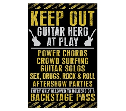Awesome Dorm Decor - Keep Out Guitar Hero Poster