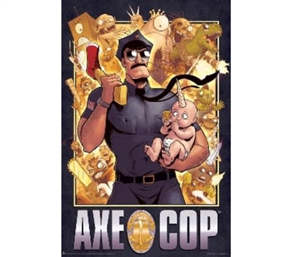 Reflect Your Interests - Axe Cop - Cop Cover Poster - Funny Dorm Decor
