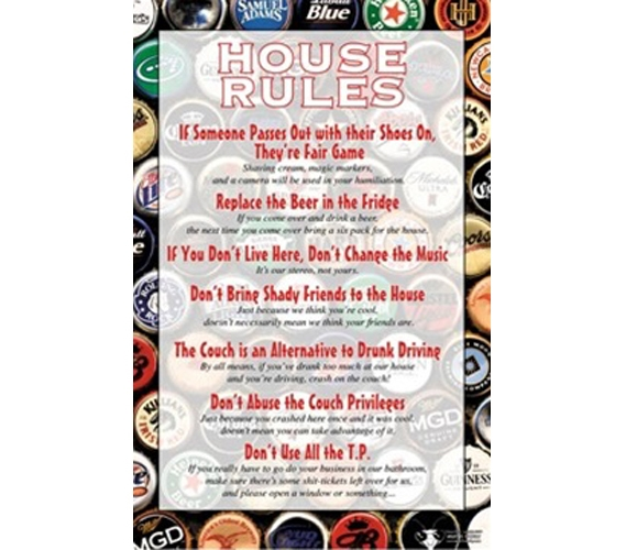 Cheap Dorm Wall Decor House Rules Poster With Style