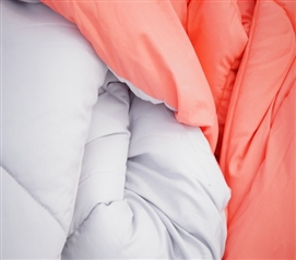 Fusion Coral/Glacier Gray Reversible College Comforter - Twin XL Girls Dorm Bedding