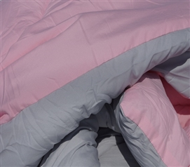 Glacier Gray/Calm Pink Reversible College Comforter - Twin XL Girls Dorm Bedding