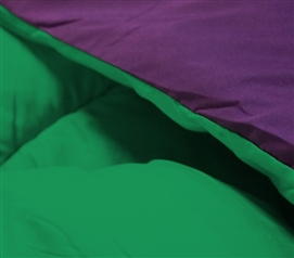 Kelly Green/Downtown Purple Reversible Twin XL College Comforter College Dorm Bedding