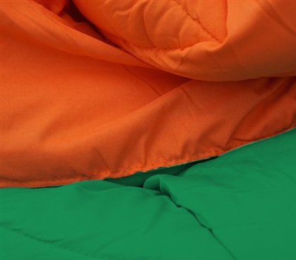 Kelly Green/Orange Reversible College Comforter - Twin XL - Comfort for Cheap