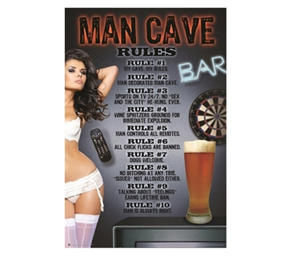 Funny College Wall Decor - Man Cave Rules Poster - Know The College Rules