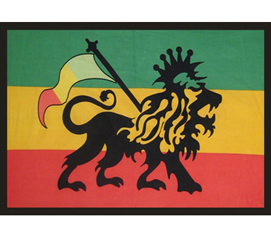 Green, Yellow, Red - Rasta Lion Flag - College Wall Tapestry