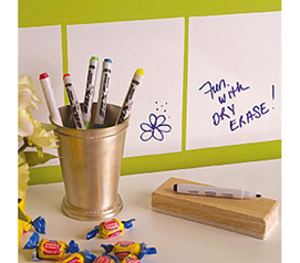 Dry Erase Squares Peel N Stick College dorm room accessory