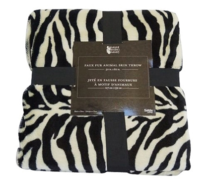 Comfortable & Stylish Faux Fur Animal Throw - True Zebra Styling