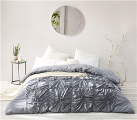 Textured Metallic Alloy Gray Comforter for Extra Long Twin Dorm Bedding