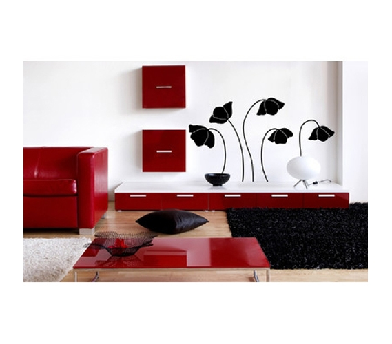 black silhouette flower wall art peel n stick wall. Black Bedroom Furniture Sets. Home Design Ideas