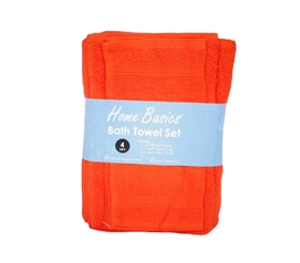4 Piece 100% Cotton Towel Set - Orange