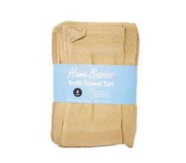 4 Piece 100% Cotton Towel Set - Tan