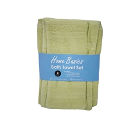4 Piece 100% Cotton Towel Set - Light Green