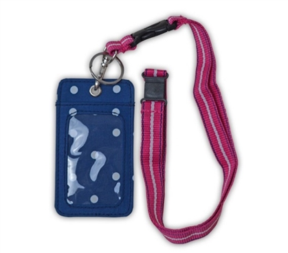Preppy Dot Student ID Holder - Lanyard Style Dorm Essentials College Supplies