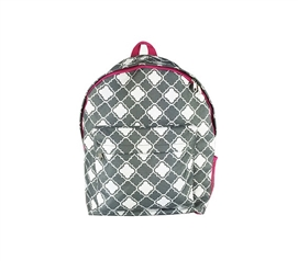 Quatrefoil Grey and Pink College Backpack Dorm Essentials Must Have Dorm Items
