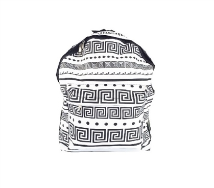 Greek Key Black and White College Backpack Dorm Essentials Cheap Dorm Supplies