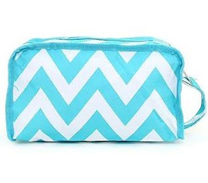 Chevron Aqua Travel Bag - Shower Bag - Dorm Room Supplies