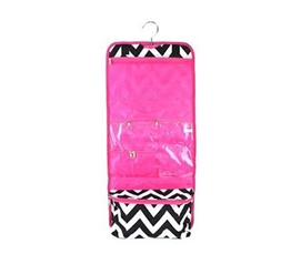 Dorm Supplies - Pink Black Chevron - Cosmetic Bag - Organizational Tool - Travel Bag