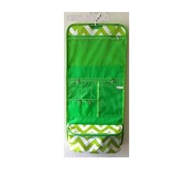 Green White Chevron - Cosmetic Bag - Stuff for College Girls - Dorm Accessories