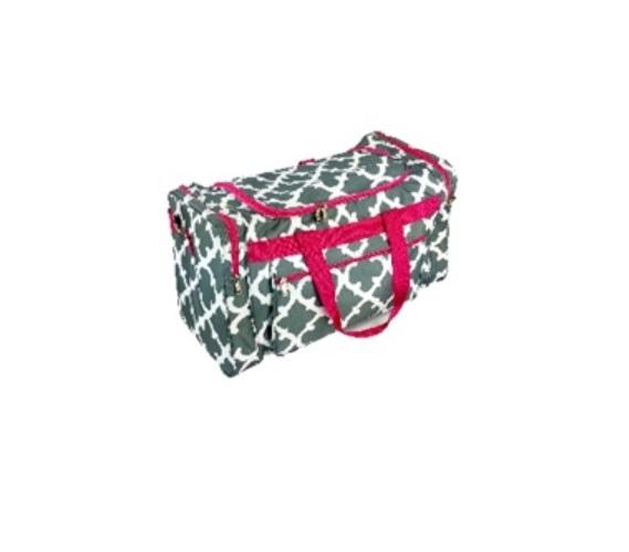 Quatrefoil Fashion Duffel Bag Grey Pink