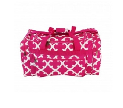 Quatrefoil Fashion Duffel Bag - Pink Dorm Essentials
