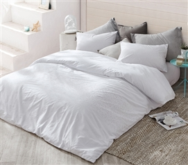 Icing Twin XL Duvet Cover - White