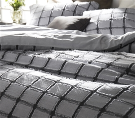 Frayed Edgings Twin XL Duvet Cover - Black/White