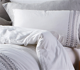 Cambria Stitch Embroidered Sham - White