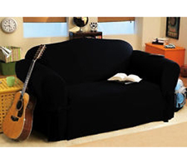 Sofa Slip Cover - Love Seat Sized Black Cover