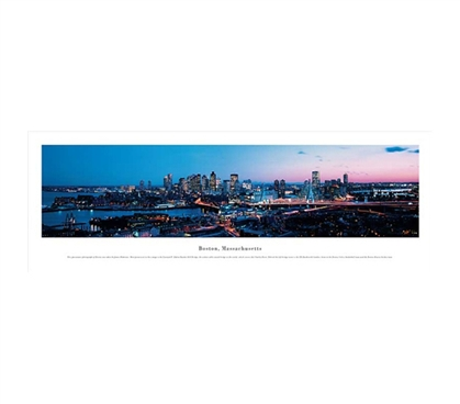 Boston, Massachusetts - Twilight Panorama Dorm Wall Art College Wall Decor