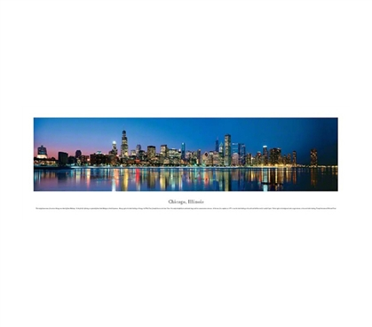 Chicago, Illinois - Lights Panorama Dorm Room Decorations Dorm Wall Art