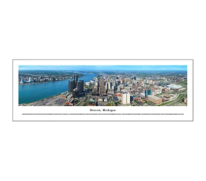 Detroit, Michigan - Skyline Panorama Dorm Room Decorations College Supplies