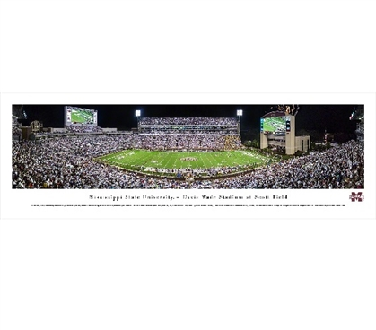 Mississippi State University - Davis Wade Stadium at Scott Field Panorama Dorm Wall Art Dorm Essentials