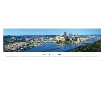 College Wall Decor Pittsburgh, Pennsylvania Skyline Panorama Dorm Essentials