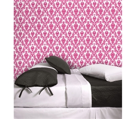 Damsel Fuchsia & White Tempaper (Removable Wallpaper) Cute Dorm Wall Decor