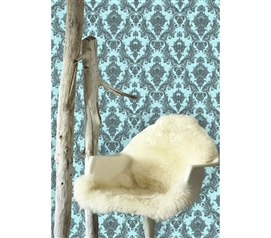 Damsel Aqua Grey Tempaper (Removable Wallpaper) Easy Dorm Wall Decorations