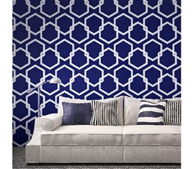 Honeycomb Deep Blue Designer Removable Wallpaper For Dorms Dorm Essentials Dorm Room Wallpaper