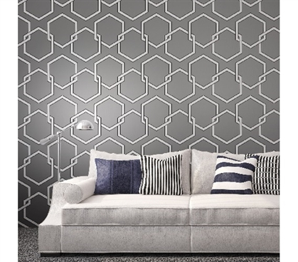 Dorm Room Decorations Honeycomb Gray Designer Removable Dorm Room Wallpaper
