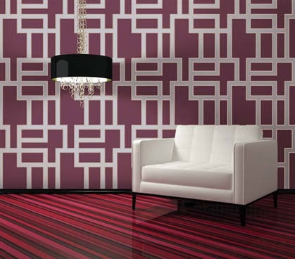 Dorm Essentials Maze Plum Designer Removable Dorm Room Wallpaper Dorm Room Decorations