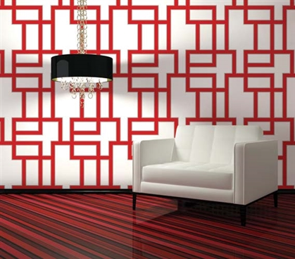Must-Haves for College - Maze Ruby Designer Removable Wallpaper - College Wall Decor