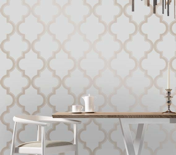 Marrakesh bronze gray designer removable wallpaper for Paintable peel n stick wallpaper