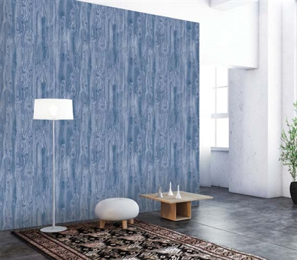 Woodgrain Textured Indigo Designer Removable Wallpaper - Great Design For College