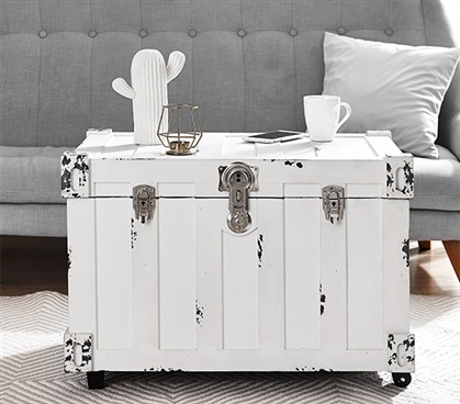 Bolt Trunks - Rustic White (Extra Roomy College Footlocker) Dorm Trunks with Wheels Dorm Storage Solutions