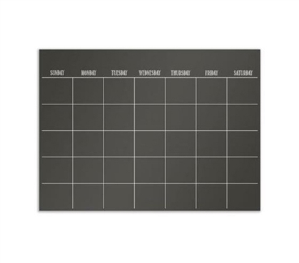 Black Wall Calendar - Peel N Stick - Dorm Room Organizer - College Poster