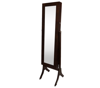 College-Ave Full-Length Mirror Jewelry Stand - Brown Rectangle Dorm Storage Solution
