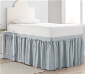 Dorm Sized Cotton Bed Skirt Panel with Ties - Faded Denim