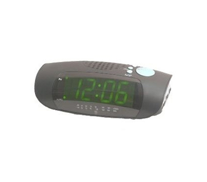 Bedding Accessories - Green LED College Alarm Clock With Radio