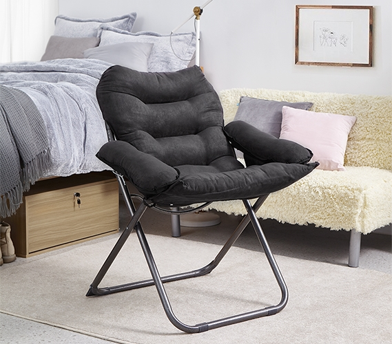 College Club Dorm Chair Plush & Extra Tall Black Dorm Room Furniture