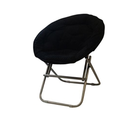 Dorm Seating - Comfy Corduroy Moon Chair - Black